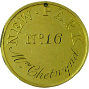 Georgian New Park Pass Token Admission Medalion No16 Mrs Chetnynd Richmond Park Royal Hunting Ground