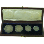Original Victorian 1867 Maundy Money Set Silver Coins Leather Case Great Britain