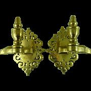 Pair Antique Brass Jamb Hooks Fire Tool Holders Hearth Mantel Pierced Back-Plates