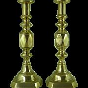"Original Victorian Ace of Diamonds Brass Candlesticks 14"" James Clews Antique"