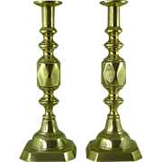 "Original Victorian Ace of Diamonds Brass Candlesticks 14"" James Clews Antique"