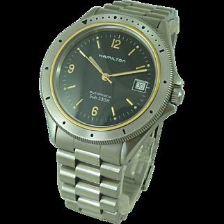 Vintage 9858 HAMILTON Sub 330ft Date Automatic Stainless Steel Divers Watch 10 ATM 1993 Black Dial Mens Wristwatch ETA 2892-2