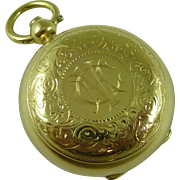 1900 15k Gold Sovereign Coin Holder Case Fob Watch Chain Pendant Locket .625 Antique