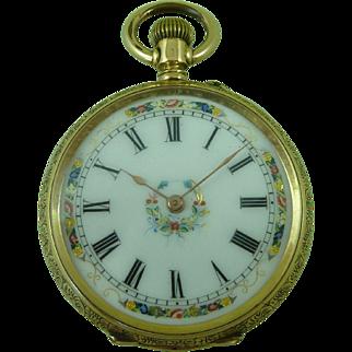 Swiss 18k Gold Pocket Watch Hidden Photo Locket Ladies Top Wind Antique