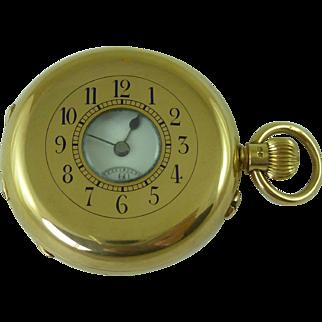 Victorian 18K Gold Swiss Half Hunter Pocket Watch London 1885 Antique
