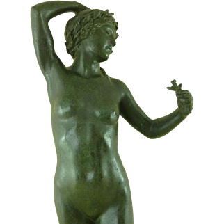 English Bronze Model Female Nude Early 20th Century After Frederick James Hanlon