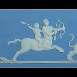 Wedgwood Light Blue Jasperware Plaque 1890 Rectangular Framed Marked Jasper Achilles Delivered to Chiron the Centaur by Thetis