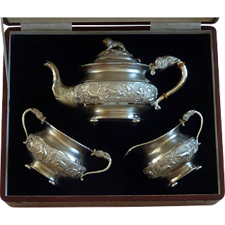 Indian Madras Solid Silver Swami Repousse Tea Set Bapalal & Co Marked Boxed Antique