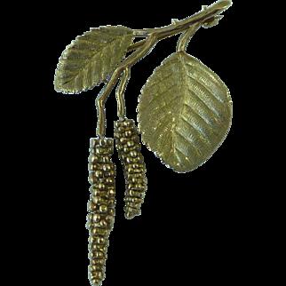 9ct Gold Novelty Catkin Brooch Naturalist Articulated Novelty English Hallmarked Vintage
