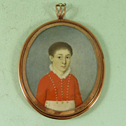 Naive Georgian Memento Portrait Miniature of a Boy Gold Frame
