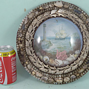 Large Victorian Sailors Shell Valentine Diorama Antique