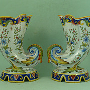 Signed Desvres Fourmaintraux Courquin Shell Cornucopia Vases French Faience Pottery