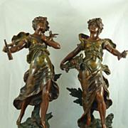 Large pair of Art Nouveau bronzed spelter female figures signed Moreau France