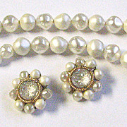 Vintage Schiaparelli Necklace and Earrings White Lava Stone and Faux Pearl Beads