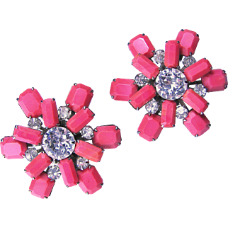 Vintage WEISS Simulated Coral and Clear Rhinestone Earrings - Signed