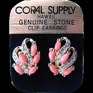 Vintage Genuine Coral Earrings 1970s Hawaii - on their Original Card