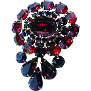 Vintage Kramer of NY Simulated Garnet and Cherry Red Rhinestone Large Brooch - Signed