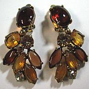 Vintage Schiaparelli Topaz Color Rhinestone Dangle Earrings
