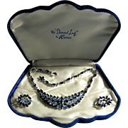 "Vintage Kramer of New York Blue Necklace and Earrings ""Diamond Look"" Presentation Box - Mint!!"