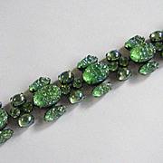 Vintage Schiaparelli Green Lava Rhinestone Bracelet