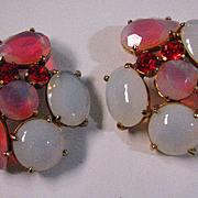 Vintage Schiaparelli Pink and White Sabrina Rhinestone Earrings