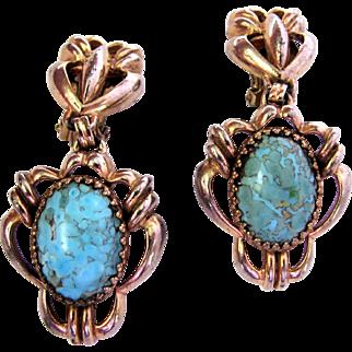 Vintage Schiaparelli Simulated Turquoise Chandelier Earrings