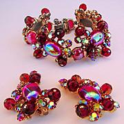 Vintage Schiaparelli Bracelet and Earrings Red Beads Aurora Borealis Rhinestones