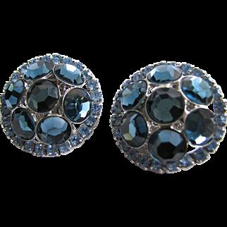 Vintage VRBA Light Sapphire Blue Rhinestone Earrings