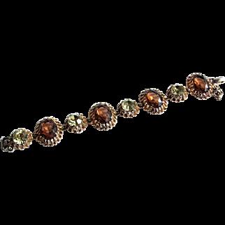 Vintage Schiaparelli Topaz Amber Jonquil Chartreuse Ribbon Setting Bracelet