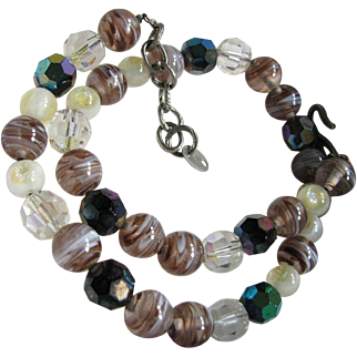 Vintage Christian Dior 1960s Art Glass Necklace - Signed Germany