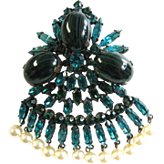 Vintage Original by Robert Teal Art Glass and Simulated Pearl Brooch