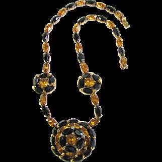 Vintage Kramer New York Black and Golden Necklace