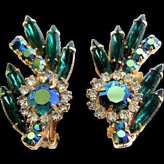 Vintage Unsigned Beauties Green Navette Aurora Borealis Rhinestone Earrings