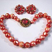 Vintage Schiaparelli Peach Faux Pearl Bead and Aurora Borealis Lava Stone Necklace and Earrings