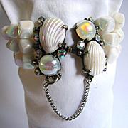 Vintage Schiaparelli White Aurora Borealis Bead Bracelet Shell Clasp