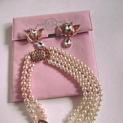 Vintage Zoe Coste Paris Butterfly Faux Pearl Necklace and Earrings