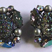 Vintage Schiaparelli Green Faux Pearl and Lava Rhinestone Earrings
