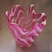 Murano Glass Handkerchief Vase - c. 1950 - Bright Swirl Of Colors