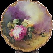 Limoges Artist Signed Roses Plaque