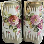 """Pair of Nippon 9 3/4"""" Floral Vases"""