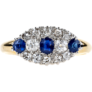 Antique Diamond & Sapphire Cluster Ring, Late Victorian Oval Shaped Blue Sapphire, Old Mine Cut Diamond Cluster Ring. 18 ct Gold, 1870s.