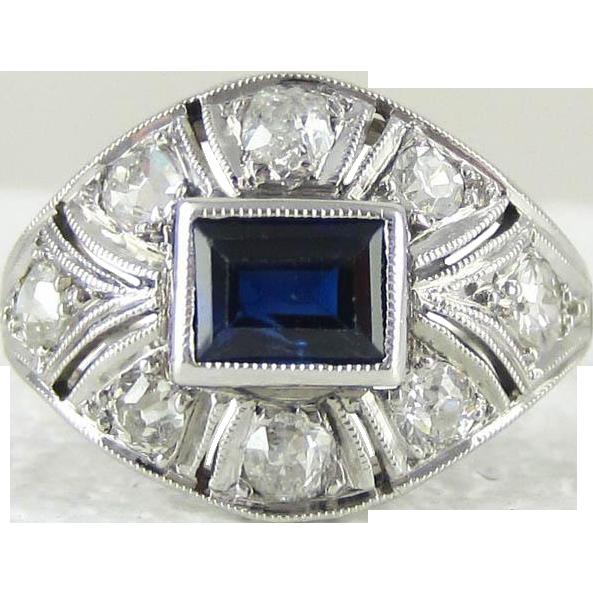 Art Deco Sapphire Amp Diamond Platinum Cocktail Ring Bomb 233