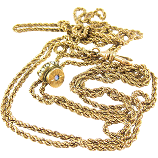 Victorian Gold Filled Long Guard Chain with Opal & Seed Pearl Slider. Antique Rope Chain Necklace, Dog Clip. Circa 1900, 117 cm / 48 inches.
