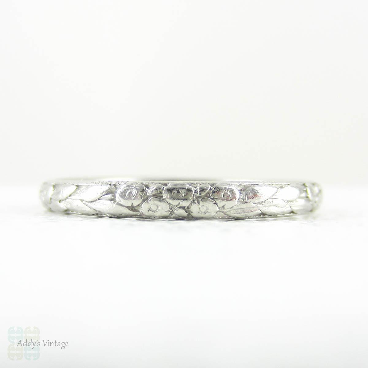 vintage engraved platinum wedding ring, art deco floral pattern