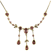 Antique Tourmaline & Split Pearl Floral Design Necklace, 9 Carat Gold with Beaded Detailing. Edwardian Circa 1900s.