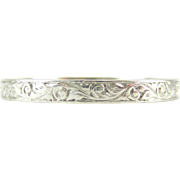 Antique Platinum Engraved Wedding Ring, Foliate Style Scrolling Design Wedding Band. Circa 1900, Size L / 5.75.