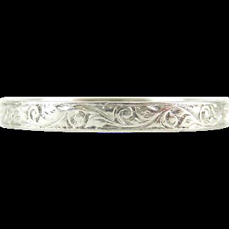 Antique Platinum Engraved Wedding Ring, Foliate Style Scrolling Design Wedding Band. Circa 1900, Size L / 5.75.