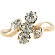 Art Nouveau Diamond Crossover Ring, Three Old Mine Cut Diamonds in Bypass Style Setting, 0.38 ctw, 14 Carat Rose Gold, Circa 1910s.