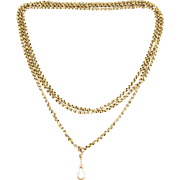 Antique 9 Carat Long Guard Chain, Faceted Fancy Link Yellow Gold Chain Necklace, Late Victorian 1800s. 146 cm / 57.5 inches, 27.4 grams.