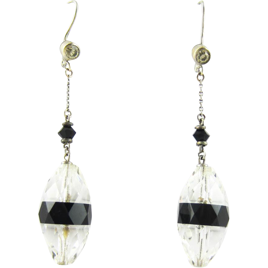art deco drop earrings classic black white look faceted cut glass from addysvintage on ruby lane. Black Bedroom Furniture Sets. Home Design Ideas